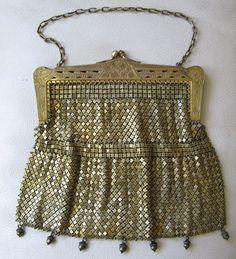 Antique Art Nouveau Pierced Frame Gold T G Silver Chain Mail Acorn Tassel Purse  #EveningBag