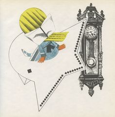Time Flies! Example of 1968 illustration by Květa Pacovská (born in 1928 in Prague, and began her career as an illustrator in the fifties) specializing in object books, three-dimensional tactile works and illustrations of children's stories- Via 50 Watts