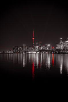 Toronto, Canada- Love this city! Splash Photography, City Photography, Color Splash, Color Pop, Colour, Toronto Skyline, Night City, Black White Red, City Lights