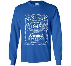 Vintage Born in 1948 69 Years Old Birthday Tshirt