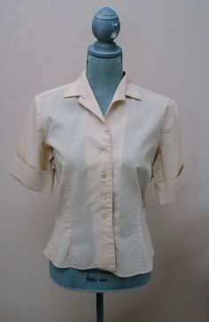1950s ~ white cream ivory silk velvet top w bows square neck and metal zipper~ size small