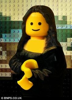 Repinned from: Joanna Sam  Appropriation of the Mona Lisa (one of many) using the iconic Lego man.