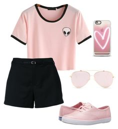 """pink"" by sharifahfun on Polyvore featuring Loveless, Keds and Casetify"