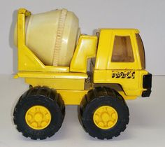 Vintage Buddy L Cement Concrete Construction Yellow Truck White Mixer Japan #BuddyL