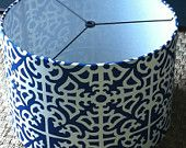 "Items similar to Drum lamp shade 15"" X 10"" blue and white geometric fabric / barrel lamp shade or pendant light shade on Etsy. , via Etsy."