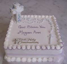 "Maryann, how about a simple sheet cake like this with plastic rosary beads and for the cross i make a ""stained glass"" cross cookie orrrrr i get a Easter white chocolate cross and add color"