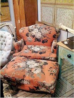 you really can't beat a vintage chair with shabby floral linen slip covers can you!