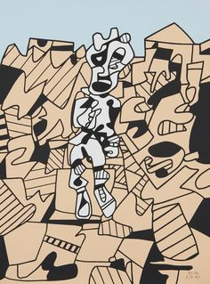 Jean Dubuffet, Territoire et paysan, 1975, Screenprint in colors, on Arches paper