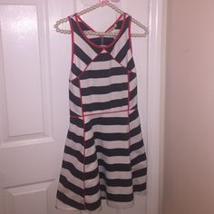 Arden B striped dress size large keyhole back! Adorable dress worn and washed once. The white is not as white as it was due to the red it is slightly discolored but the camera doesn't capture it so it's not too bad. Size large! Keyhole back! Arden B Dresses Mini