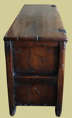 End view of 14th century clamped front oak chest