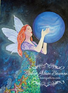 Neptune, faerie, pisces, fairy, wings, sky, space. Johna Gibson Bowman