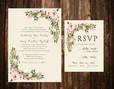 Vintage Blush Bohemian Floral Wedding Invitations von papernpeonies