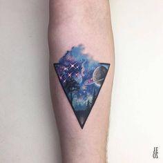 Triangular space scenery tattoo by Yelizoz Finger Tattoos, Small Wrist Tattoos, Wolf Tattoos, Body Art Tattoos, Sleeve Tattoos, Galaxy Tattoo Sleeve, Ankle Tattoos, Arrow Tattoos, Tattoo Small