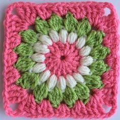 Granny Square Crochet Pattern, Crochet Flower Patterns, Crochet Squares, Crochet Granny, Crochet Doilies, Crochet Flowers, Crochet Stitches, Knit Crochet, Crochet Cactus