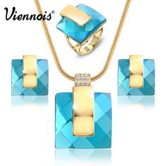 New Gold Plated Blue Stone Square Rhinestone Earrings Necklace Jewelry Set Wedding Party Women Jewelry //Price: $47.49 & FREE Shipping //     #style #beautiful