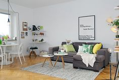 Liking the table+chairs from Ikea, the small couch tables and the rug