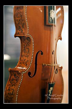 The ribs of Sacconi's violin on display at MIM are gorgeously embellished.