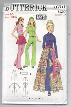 Uncut Size 10 Vintage Sewing pattern Butterick 5751 Misses Jumpsuit Tie on Skirt Mini or Maxi Woman Teen Sash Belt Easy Vintage Dress Patterns, Vintage Skirt, Clothing Patterns, Clothing Ideas, Seventies Fashion, 70s Fashion, Vintage Fashion, Vintage Outfits, Vintage Dresses