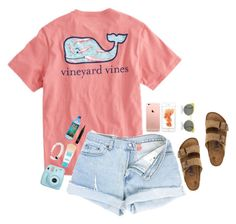 """Love the the shirt!"" by mgropp ❤ liked on Polyvore featuring Vineyard Vines, Maybelline, RetroSuperFuture and Birkenstock"