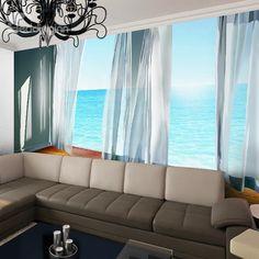 Lifelike Natural Curtain and Seaside Scenery Pattern Waterproof 3D Wall Murals