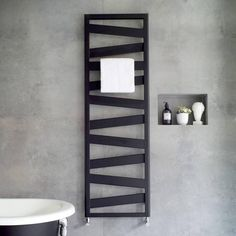 Introducing the new Zehnder Ribbon towel radiator - a super sleek and stylish design suitable for modern bathroom interiors and available in a range of sizes and chrome, white and brand new matt black finishes. Radiators Uk, Black Radiators, Bathroom Radiators, Bathroom Furniture, Rustic Furniture, Modern Radiators, Decorative Radiators, Modern Bathrooms Interior, Bathroom Interior Design