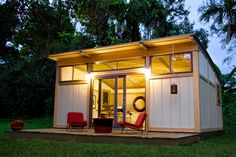 Cabin Series    From a 320 sf studio to an 800 sf 2-bedroom home  Built with top-quality materials  Factory manufactured for maximum efficiency  Flexible layouts and configurations  Generous glass facades, dramatic exposed beams, soaring ceilings  Perfect for a backyard office, guesthouse, or weekend cabin  Shell+PlusTM pricing available.