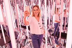 mirrored cube for 2018 Bold Is Beautiful charity all-pink charity pop-up shop