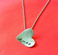 Valentines day gift  Heart necklace  Amor love by Fingerprince, $39.00