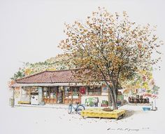 (Korea) A small store, a disappearing mini shop in a rural village by Lee Me Kyeoung ). with a pen use the acrylic ink on paper. Colorful Art, Installation Art, Korean Art, Stylish Art, Art, Color Pencil Art, Building Painting, Scenery, Building Art