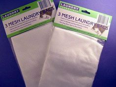 """Mesh Lingerie Wash Laundry Bags (3 in a pack) - TWO Packs by Laundry Essential. $5.25. Great For Washing Delicates. 3 - 12"""" x 15"""" Mesh Bag In A Pack/Price Is For 2 Packs. 3 - 12"""" x 15"""" Mesh Laundry Bags Total Of 6 Bags (2 Packs) Use For Washing Delicates In Laundry 100% Polyester Zippered Closure On Tops"""
