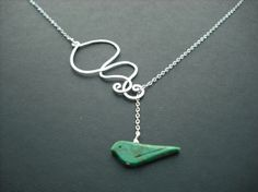 Matte mod wave motion and  turquoise bird lariat by Lana0Crystal, $29.50
