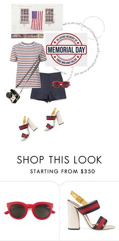 """""""Memorial Day Outfit"""" by shortyluv718 ❤ liked on Polyvore featuring Yves Saint Laurent, Gucci and Betsey Johnson"""