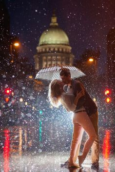 Loving kiss in rain