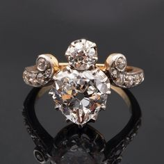 Antique, Rose Cut Diamond ring, a Crowned Heart from Bell and Bird