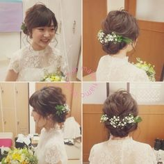 お花×グリーンを飾ったナチュラル系シニヨンヘアまとめ | marry[マリー]