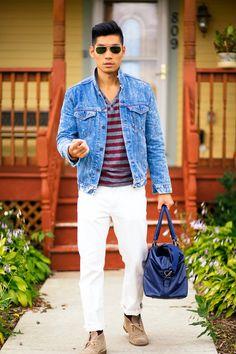 LEVITATE STYLE Outfit Breakdown: Jacket - Levi's Trucker Jacket Shirt - H&M Henley Stripe Shirt Jeans - J. Crew Socks - Merona at Target Shoes - Clark's Desert Boots Bag - H&M Weekend Bag