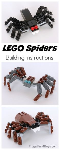 Kinder LEGO Spiders Building Instructions - Diy For Children Saving Money On Your Home Improvement P Lego Duplo, Lego For Kids, Diy For Kids, Crafts For Kids, Kids Fun, Lego Design, Lego Minecraft, Minecraft Buildings, Minecraft Skins