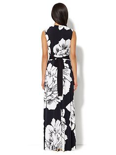 Faux-Wrap Maxi Dress - Graphic Floral  - New York & Company