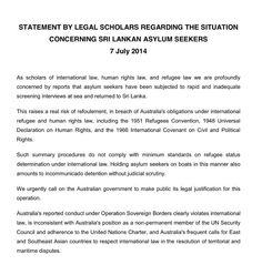 Statement by 53 legal scholars from 17 universities on Australia's treatment of the Sri Lankan asylum seekers pic.twitter.com/O2lSA0M2Bk #auspol