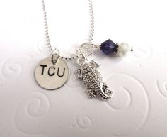 TCU Texas Christian University Handstamped by CatalinasTreasures, $18.00
