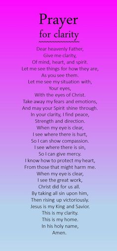 Prayer for clarity: