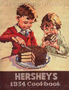 Hershey's 1934 Cookbook Kids Sunset Needlepoint Kit 6790 x 1983 Kit Needlepoint Patterns, Needlepoint Canvases, Cross Stitch Patterns, Hershey Chocolate, Vintage Ads, Needlework, Art Deco, Embroidery, Kids