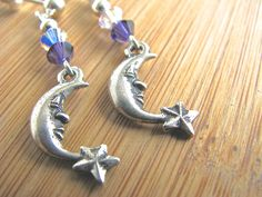 Nature Series: Silver Crescent Moon and Star Dangly Earrings with Austrian Crystal - pinned by pin4etsy.com