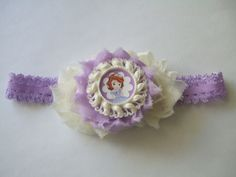 Sofia the First Inspired Shabby Flower Headband- $8.50 www.facebook.com/justaboutbows
