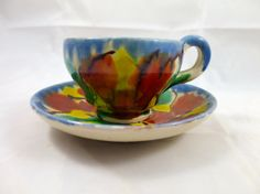 Majolica Drip Cup Saucer Vintage Mexico by BonniesVintageAttic, $20.00
