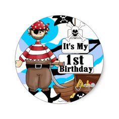 Pirate 1st Birthday T-shirts and Gifts Classic Round Sticker