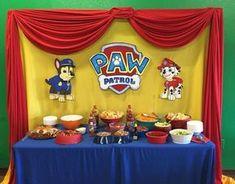 Paw patrol snack table by janell Paw Patrol Birthday Decorations, Paw Patrol Birthday Theme, Kids Party Snacks, Paw Patrol Cake, 4th Birthday Parties, Birthday Table, 3rd Birthday, Birthday Ideas, Puppy Birthday