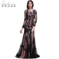 Cheap mermaid evening dress, Buy Quality evening dress directly from China lace mermaid evening dress Suppliers: 2017 Babyonline Sexy Black O-Neck Lace Mermaid Evening Dresses With Long Sleeve Formal Dress Prom Party Dresses robe de soiree