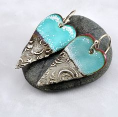 Blue Enamel and Textured Gilded Silver Solder Earrings by DebeVanderHeide on Etsy