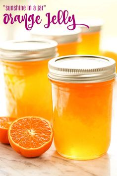Sweet Mandarin Orange Jelly Orange Jelly Recipe - A bright burst of sunshine in a jar! Step-by-step instructions in this easy recipe. This jelly is hundred times better than storebought. If you like marmalade - you'll love this jam! Jam Recipes, Canning Recipes, Satsuma Recipes, Canning 101, Quick Recipes, Pork Recipes, Summer Recipes, Cooker Recipes, Recipies